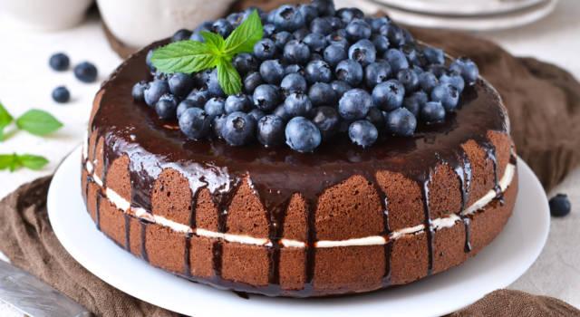 Torta furba al cioccolato con mirtilli: che bontà!